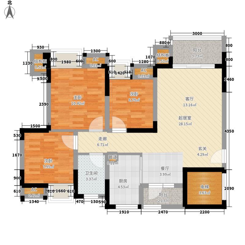 青房天韵华庭89.00㎡小高层C1/D1户型3室2厅1卫1厨