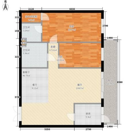 龙福家园2室1厅2卫1厨106.00㎡户型图