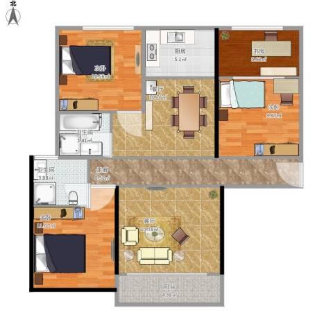 尚城国际花园4室2厅2卫1厨120.00㎡户型图