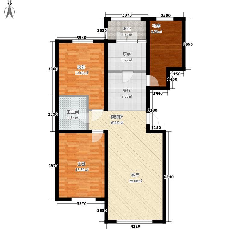 心缘现代城105.29㎡心缘现代城户型图高层P户型3室2厅1卫1厨户型3室2厅1卫1厨