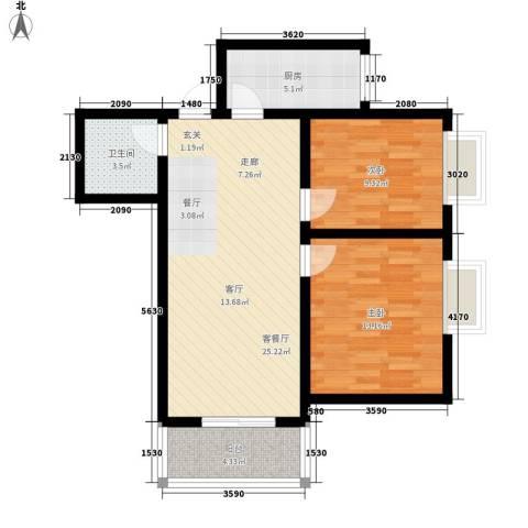 嘉园小区2室1厅1卫1厨70.00㎡户型图