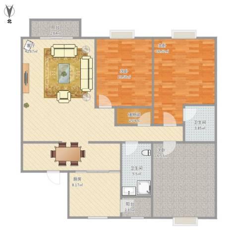兴越小区3室1厅2卫1厨153.00㎡户型图
