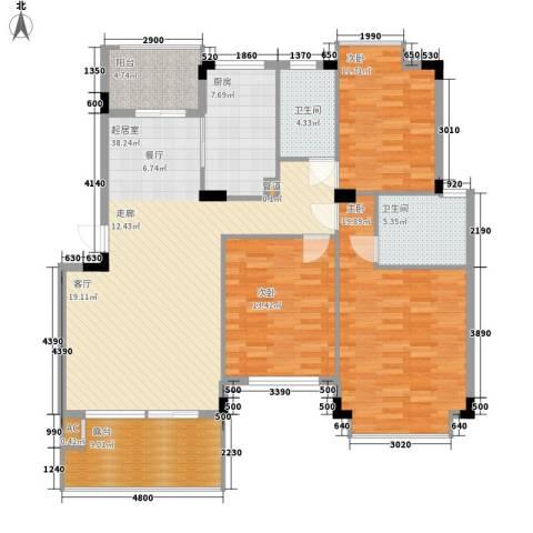 南山・苏迪亚诺3室0厅2卫1厨125.00㎡户型图