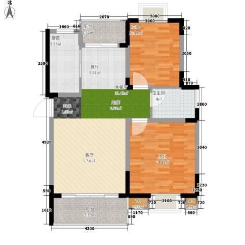 揽海听涛2室1厅1卫1厨86.00㎡户型图