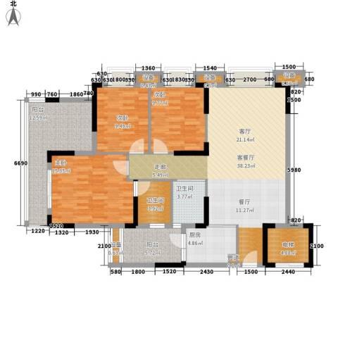 滨江一号3室1厅2卫1厨110.01㎡户型图