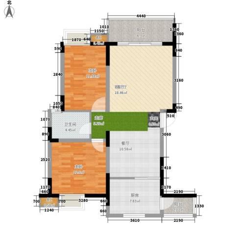 揽海听涛2室1厅1卫1厨92.00㎡户型图