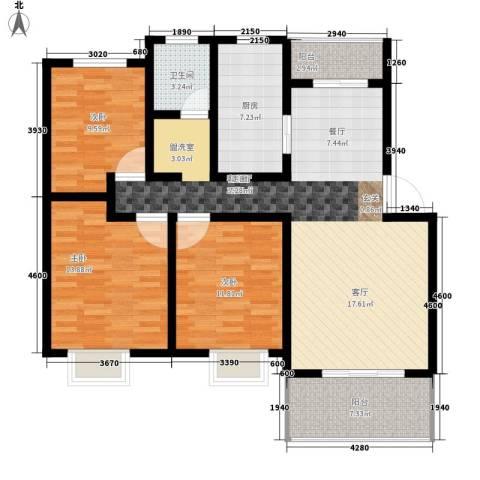 前城御澜湾3室1厅1卫1厨106.00㎡户型图