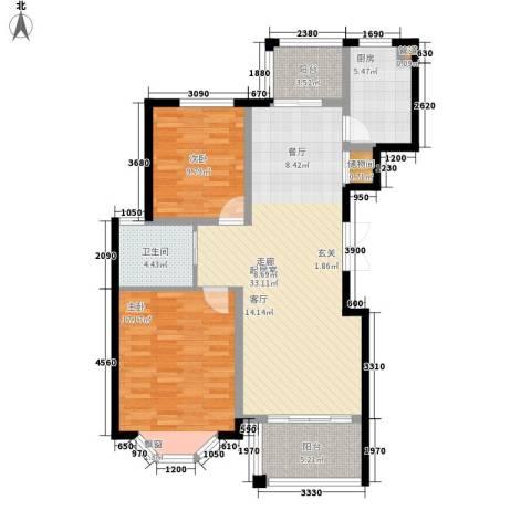 曹路家苑2室0厅1卫1厨91.00㎡户型图