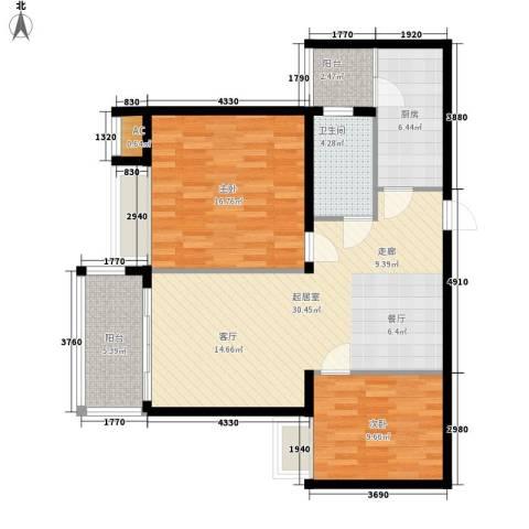 晶蓝上城2室0厅1卫1厨86.00㎡户型图