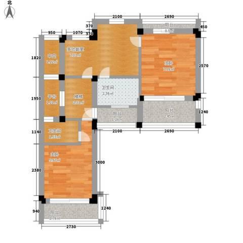 晶蓝上城2室0厅2卫0厨44.00㎡户型图