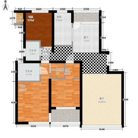 晶蓝上城3室0厅2卫1厨102.00㎡户型图