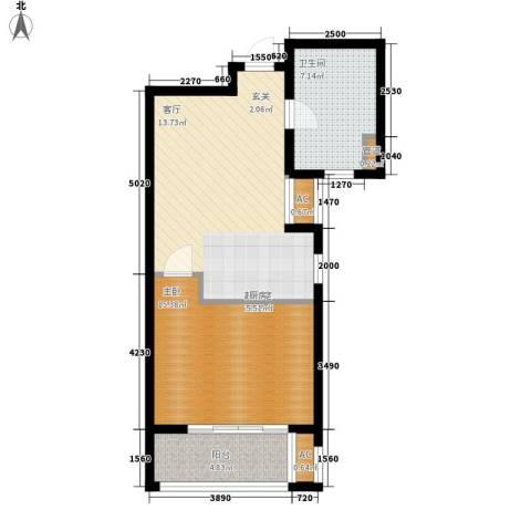 晶蓝上城1室0厅1卫0厨58.00㎡户型图