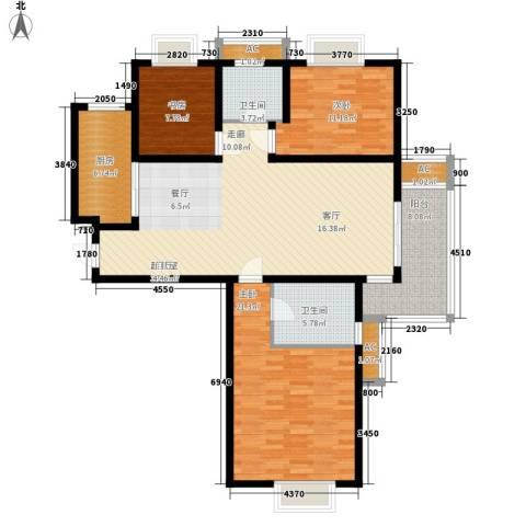晶蓝上城3室0厅2卫1厨105.10㎡户型图