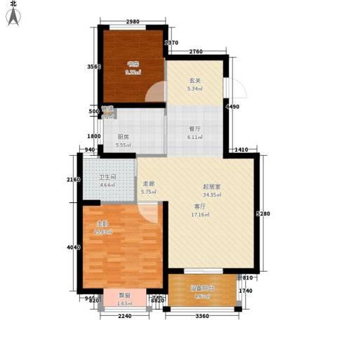 曹路家苑2室0厅1卫1厨90.00㎡户型图