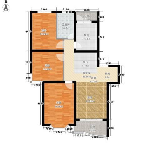 鸿发家园3室1厅1卫1厨107.00㎡户型图