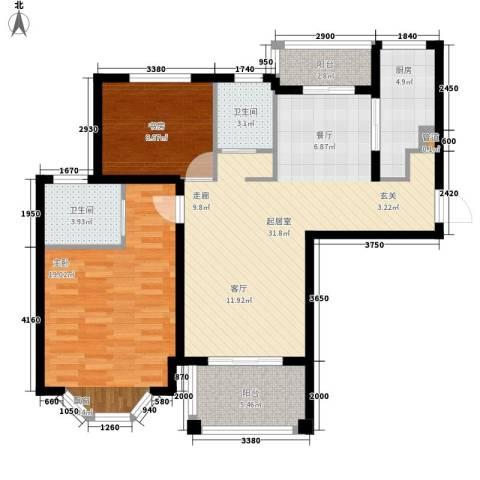 曹路家苑2室0厅2卫1厨90.00㎡户型图
