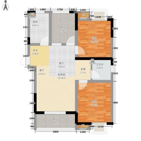 幸福大街2室0厅1卫1厨96.00㎡户型图