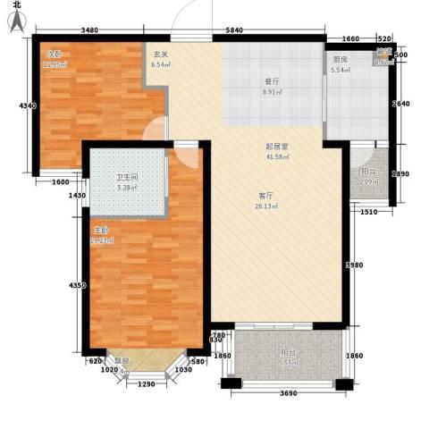 曹路家苑2室0厅1卫1厨104.00㎡户型图