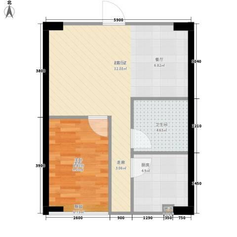 东山国际1室0厅1卫1厨57.00㎡户型图