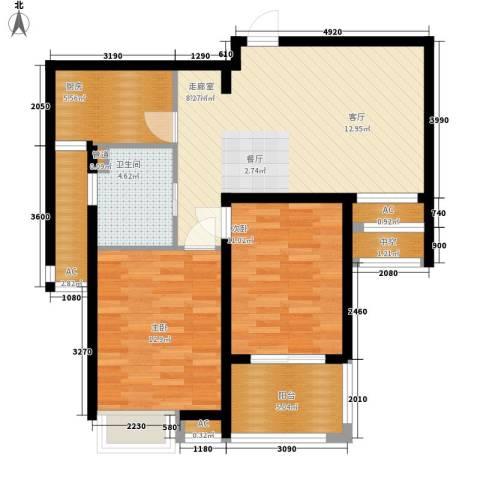 自由都市(乐活家园)2室0厅1卫1厨80.00㎡户型图