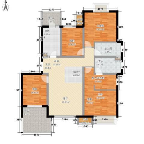 无锡万达文化旅游城4室1厅2卫1厨134.00㎡户型图