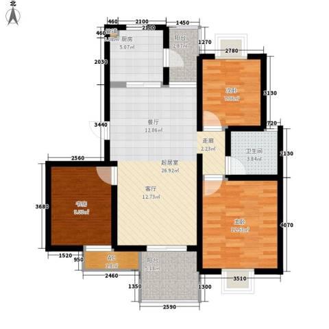 星联邦3室0厅1卫1厨87.00㎡户型图