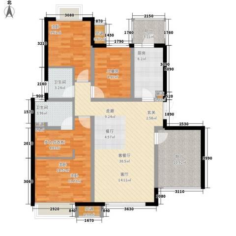 无锡万达文化旅游城3室1厅2卫1厨111.00㎡户型图