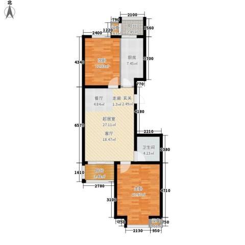 湖岸新城2室0厅1卫1厨86.00㎡户型图