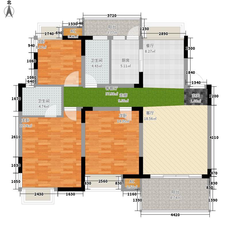揽海听涛120.76㎡揽海听涛户型图5号楼-02户型图3室2厅2卫1厨户型3室2厅2卫1厨