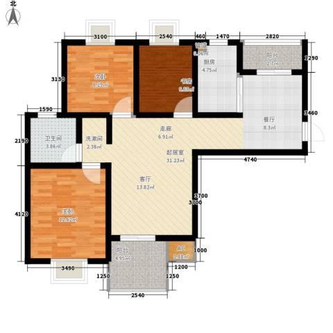 星联邦3室0厅1卫1厨89.00㎡户型图