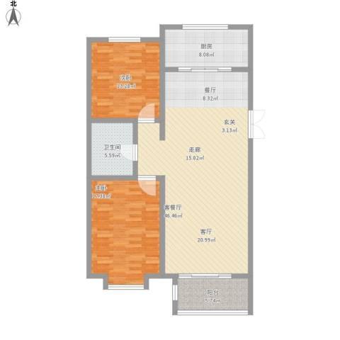 世家官邸2室1厅1卫1厨136.00㎡户型图