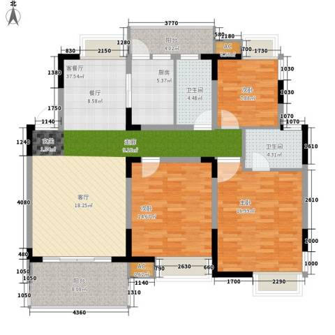 揽海听涛3室1厅2卫1厨119.00㎡户型图