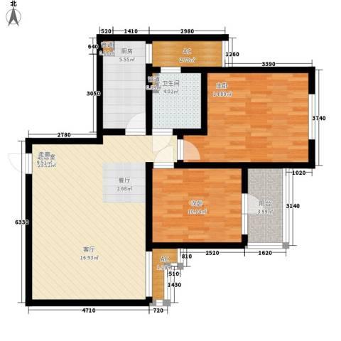 自由都市(乐活家园)2室0厅1卫1厨84.00㎡户型图
