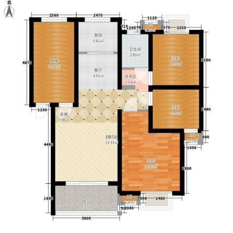 森隆蓝波湾3室0厅1卫1厨90.00㎡户型图