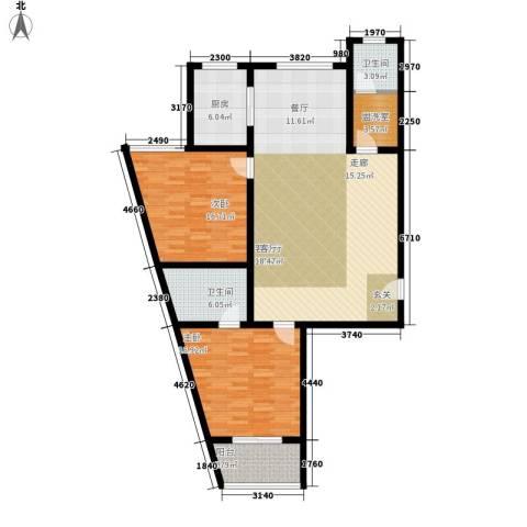 东皇城2室1厅2卫1厨147.00㎡户型图