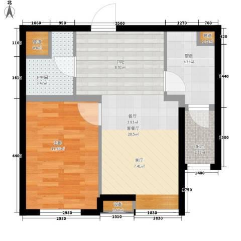 河畔新城・名门组团1室1厅1卫1厨66.00㎡户型图