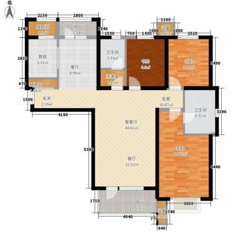 河畔新城・名门组团3室1厅2卫1厨141.00㎡户型图