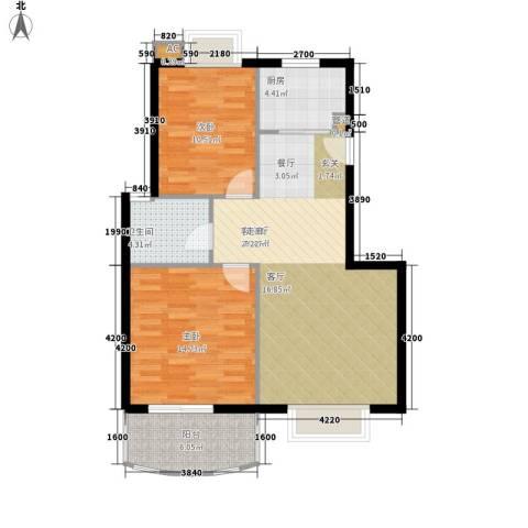 太湖之春2室1厅1卫1厨96.00㎡户型图