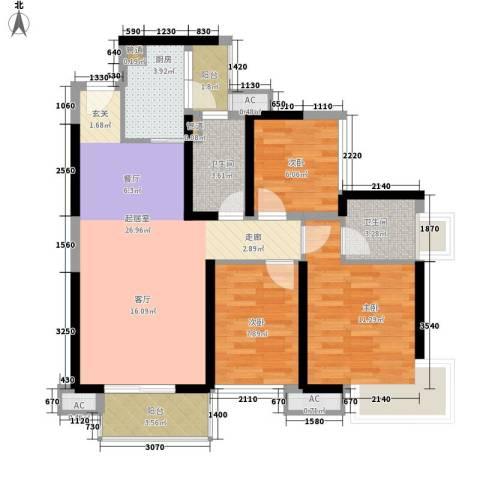 中航天逸3室0厅2卫1厨89.00㎡户型图