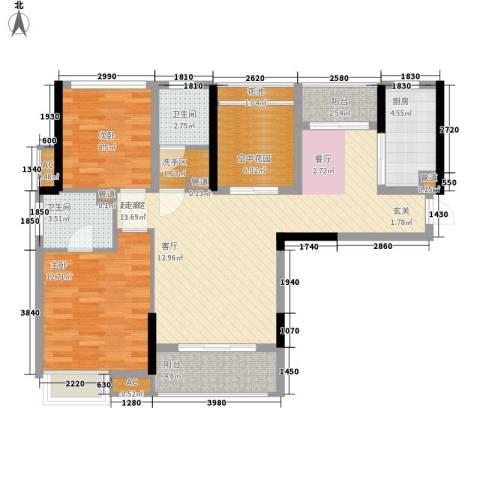 南山・苏迪亚诺2室0厅2卫1厨96.00㎡户型图