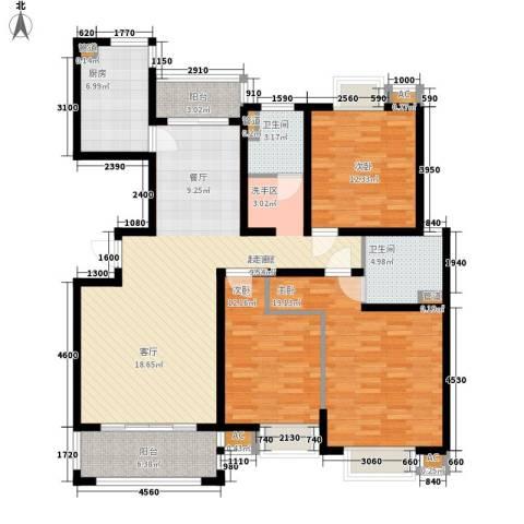 自由都市(乐活家园)3室0厅2卫1厨128.00㎡户型图