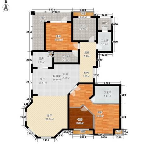 荣盛锦绣花苑3室0厅3卫1厨217.00㎡户型图
