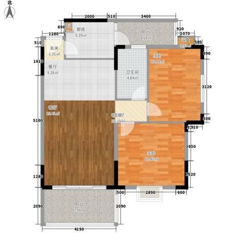 宏新富苑2室1厅1卫1厨111.00㎡户型图
