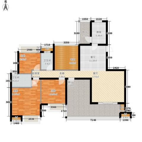晶蓝上城3室0厅2卫1厨135.00㎡户型图