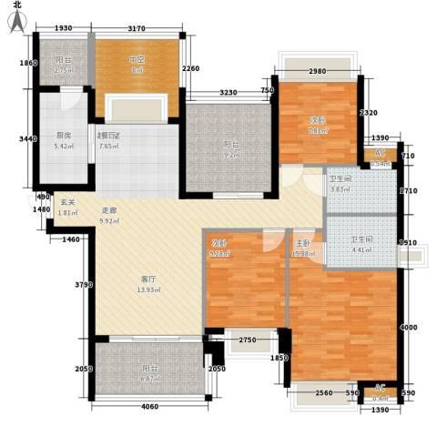 晶蓝上城3室0厅2卫1厨124.00㎡户型图