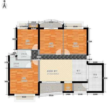 荆门碧桂园三期凤栖岛4室0厅2卫1厨143.00㎡户型图