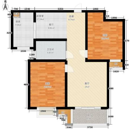 晶蓝上城2室0厅1卫1厨103.00㎡户型图