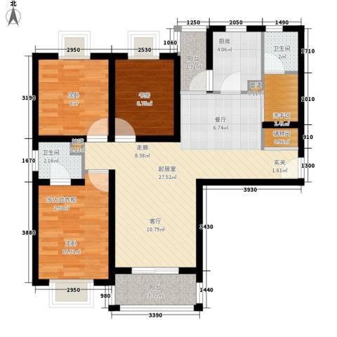 蒙特利名都城3室0厅2卫1厨83.00㎡户型图