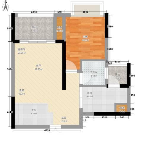 黄金堡宫1室1厅1卫1厨48.00㎡户型图