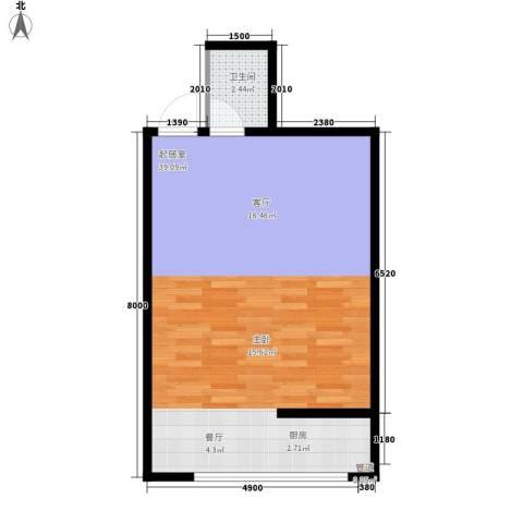 易居・山水豪庭项目1卫0厨58.00㎡户型图